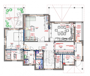 Рис. 2. Планировочное решение помещений 1 этажа с расстановкой мебели и оборудования.